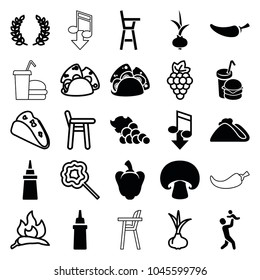 Eating icons. set of 25 editable filled and outline eating icons such as ketchup, taco, pepper, burger and drink, onion, grape, chili, baby chair, lollipop, olive branch