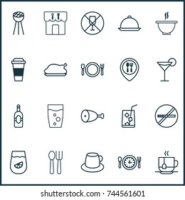 Eating Icons Set. Collection Of Coffee Cup, Bowl, Stop Smoke And Other Elements. Also Includes Symbols Such As Fork, Glass, Coffee.