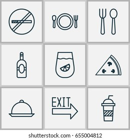 Eating Icons Set. Collection Of Eating House, Hooch, Dining And Other Elements. Also Includes Symbols Such As Pepperoni, Alcohol, Pizzeria.