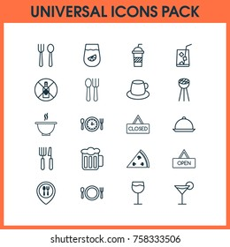 Eating Icons Set With Cutlery, Board, No Drinking And Other Lemonade  Elements. Isolated Vector Illustration Eating Icons.