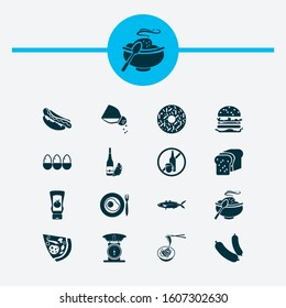 Eating icons set with hot meal, loaf, fish and other seafood elements. Isolated vector illustration eating icons.