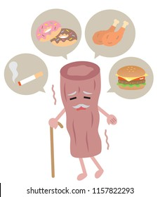 eating junk food and smoking increase blood cholesterol and lead to unhealthy blood vessel