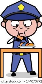 Eating Snacks - Retro Cop Policeman Vector Illustration