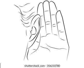 Eavesdropping.hand and ear, a sign of attention. Pencil black and white drawing. The man put his hand to his ear and listens. Drawn by hand scribble black and white cartoon vector