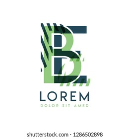 EB colorful logo design with green and dark green color that can be used for creative business and advertising. BE logo is filled with bubbles and dots, can be used for all areas of the company