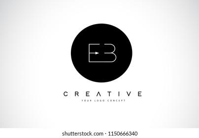 EB E B Logo Design with Black and White Creative Icon Text Letter Vector.