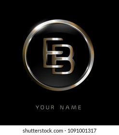 EB initial letters with circle elegant logo golden silver black background