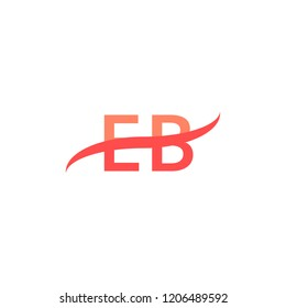 EB Initial Letters Logo Design with Swoosh Illustration Template in Red Color Concept