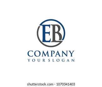 EB initial letters looping linked circle elegant logo blue grey