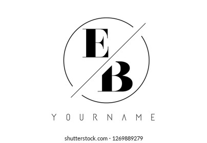 EB Letter Logo with Cutted and Intersected Design and Round Frame Vector Illustration