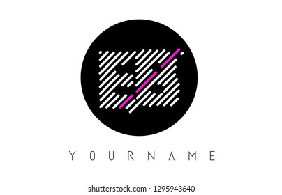 EB Letter Logo Design with White Lines and Black Circle Vector Illustration