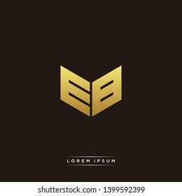 EB Logo Letter Initial Logo Designs Templete with Gold and Black Background