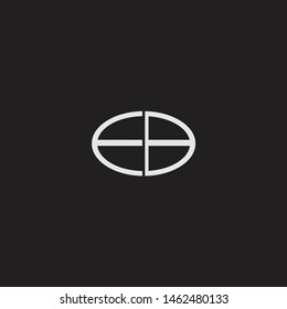 EB Logo letter oval monogram design template with black and white colors