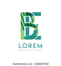 EB luxury logo design with green and dark green color that can be used for creative business and advertising. BE logo is filled with bubbles and dots, can be used for all areas of the company