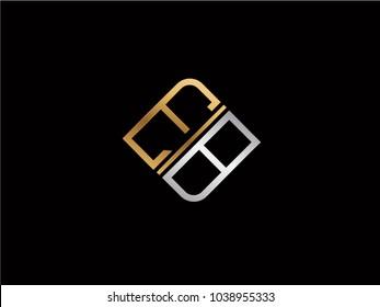 EB square shape Letter logo Design in silver gold color