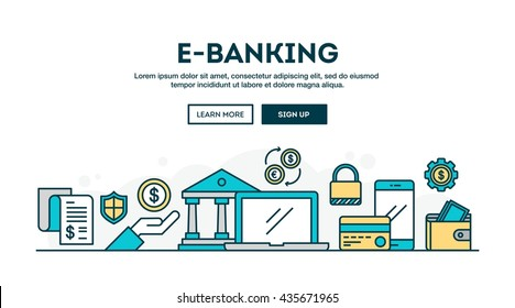 E-banking, colorful concept header, flat design thin line style, vector illustration