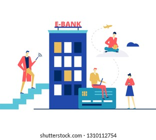 E-banking concept - flat design style colorful illustration on white background. Unusual composition with male, female characters making online financial operations via smartphone, tablet, laptop