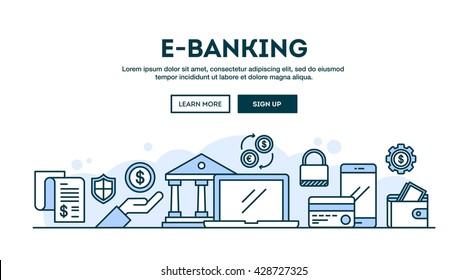 E-banking, concept header, flat design thin line style, vector illustration