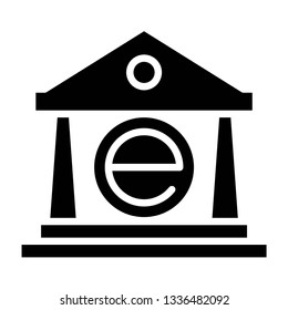 ebanking technology icon design with creative modern concept and black and white glyph style logo shape for pictogram, website, technology, web button design vector eps 10 - Vector