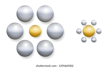 Ebbinghaus illusion with golden and silver balls. Optical illusion of relative size perception. The two golden balls in the middle are exactly the same size. The one on the right appears larger.