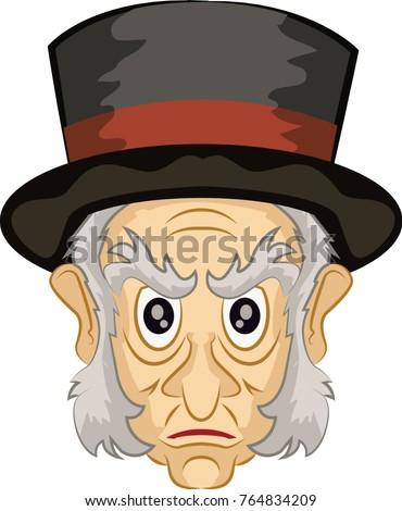 Ebenezer Scrooge Main Character Christmas Carol Stock Vector