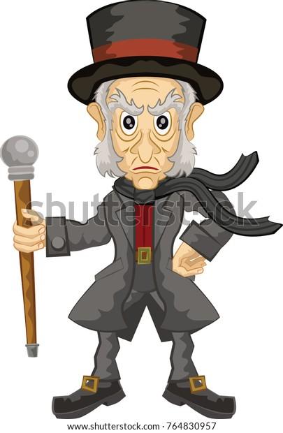 Christmas Carol Scrooge Clipart.Ebenezer Scrooge Main Character Christmas Carol Stock Vector