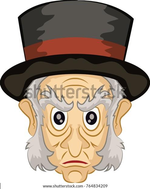 A Christmas Carol Scrooge Drawing Easy.Ebenezer Scrooge Main Character Christmas Carol Stock Vector