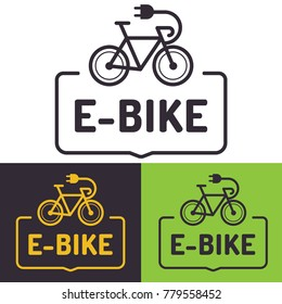 E-bike. Badge with bicycle icon. Set of flat vector illustrations on white, black, green background.