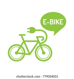 E-bike. Flat vector illustration with bicycle icon on white background.