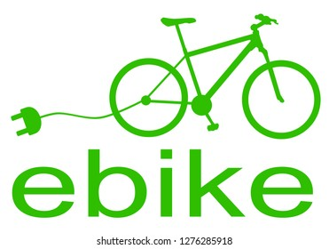 ebike silhouette green isolated