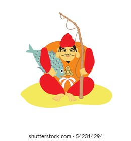 Ebisu, one of the Seven Lucky Gods, the Japanese god of fishermen, good luck, and workingmen