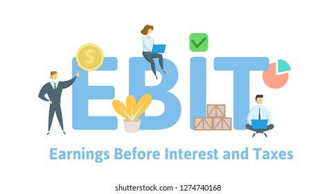 EBIT, Earnings Before Interest and Taxes. Concept with keywords, letters and icons. Colored flat vector illustration. Isolated on white background.