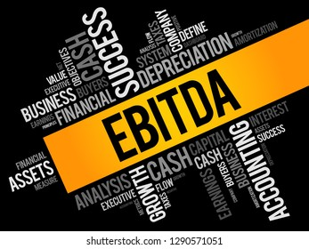 EBITDA (Earnings before interest, taxes, depreciation and amortization) word cloud collage, business concept background