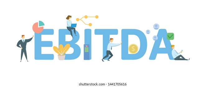 EBITDA, Earnings Before Interest, Taxes, Depreciation and Amortization. Concept with people, letters and icons. Colored flat vector illustration. Isolated on white background.
