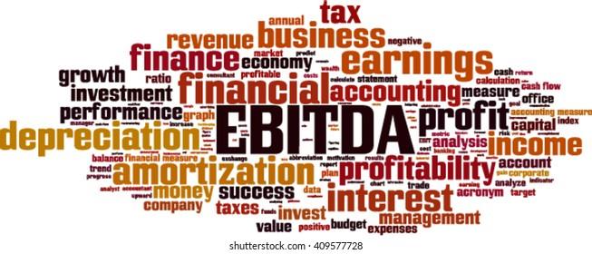 EBITDA word cloud concept. Vector illustration