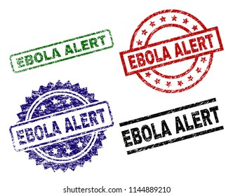 EBOLA ALERT seal imprints with corroded style. Black, green,red,blue vector rubber prints of EBOLA ALERT label with corroded style. Rubber seals with round, rectangle, medallion shapes.