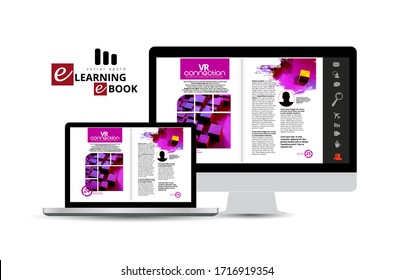 E-book application design, abstract technology concept with 3D rendering background