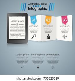 Ebook. book reader - business infographic. Vector eps 10