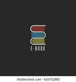 E-book bookstore logo, on-line school education emblem mockup, reading club icon, stack books in the shape of the letter E symbol.