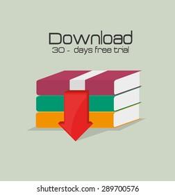 Ebook design over beige background, vector illustration.