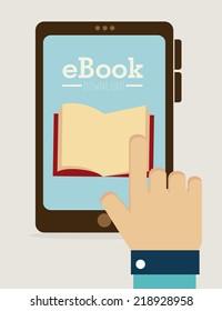 eBook design over white background, vector illustration