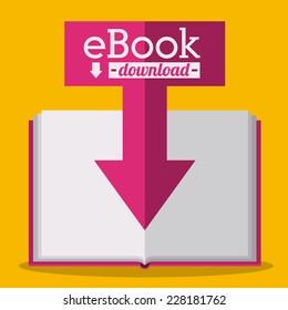 eBook design over yellow background,vector illustration