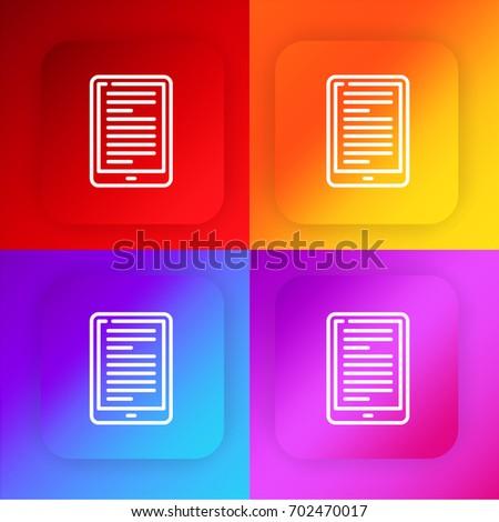 Ebook Four Color Gradient App Icon Stock Image Download Now