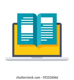 eBook icon with laptop and book in flat style