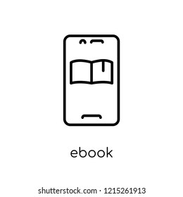 Ebook icon. Trendy modern flat linear vector Ebook icon on white background from thin line E-learning and education collection, editable outline stroke vector illustration