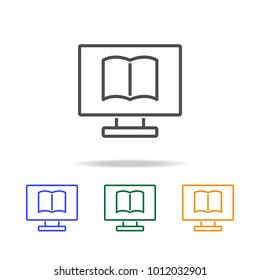 eBook icons. Element of edecation for mobile concept and web apps. Thin line  icon for website design and development, app development. Premium multicolor icons on white background