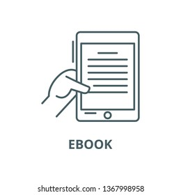 Ebook line icon, vector. Ebook outline sign, concept symbol, flat illustration