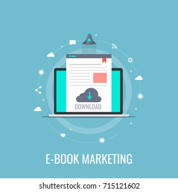 E-book marketing, content marketing, ebook download flat design vector isolated on blue background