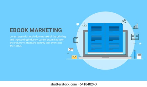 Ebook Marketing line art vector concept with icons