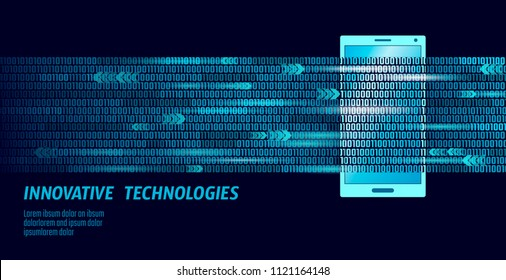 E-book mobile smartphone 3d virtual reality visual imagination mind effect.Big data binary code flow numbers. Creative e-learning reading electronic touch screen blue media vector illustration
